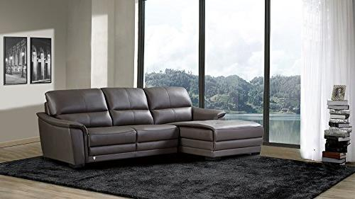 American Furniture Collection Top Grain Leather Living Sectional Sofa on Right With Top