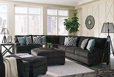 Ashley 3 Piece Sectional Charcoal Living Room
