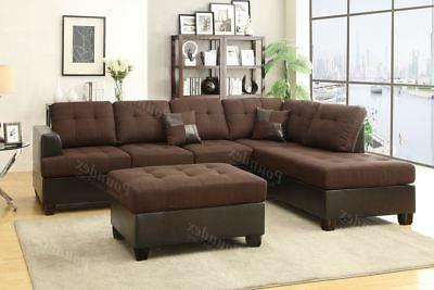 chocolate polyfiber sectional sofa with chaise