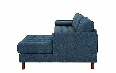 Classic Fabric Sectional L-Shape Couch with Wide
