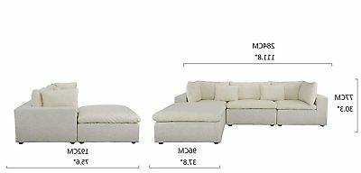 Classic Large Fabric Sectional Sofa, Couch Wide