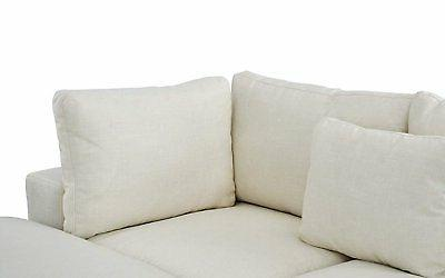 Classic Large Beige Fabric Sectional Sofa, Couch