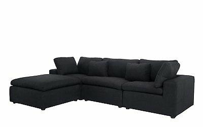 Classic Large Sectional L Shape Couch with Wide Chaise...