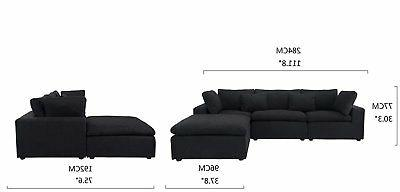 Classic Black Sectional Sofa, Couch with Wide