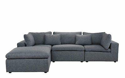 Classic Large Sectional Fabric Chaise...