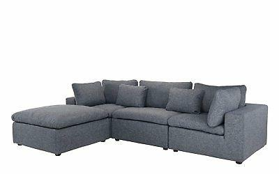 Classic Dark Sectional Sofa, Chaise...