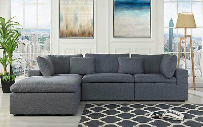 classic large dark grey sectional sofa l