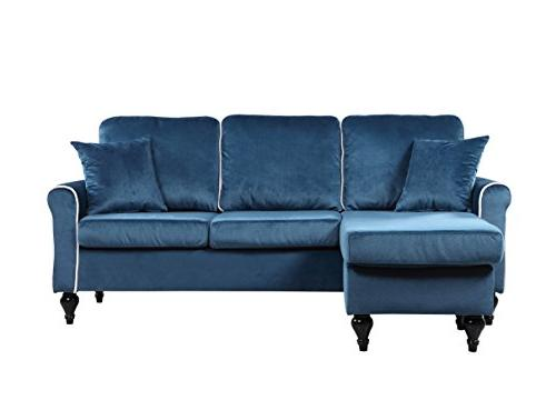 Madison Traditional Space Sectional with Reversible Chaise Blue