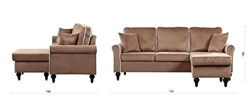 Classic Traditional Space Velvet Sectional Sofa with