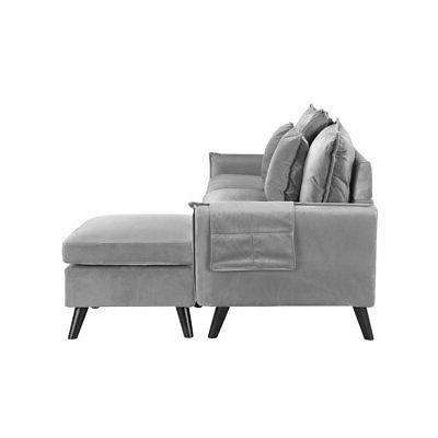 Classic Velvet L-Shape Couch Grey Sofa Small Couch