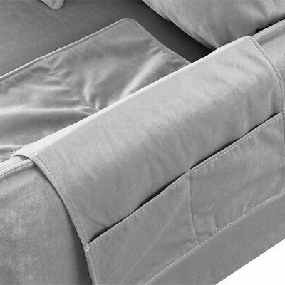 Classic Velvet Sectional L-Shape Couch Armrest Grey Small