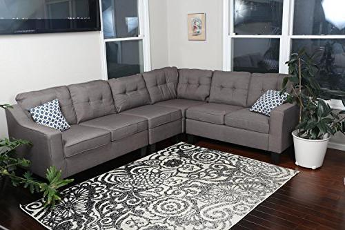"Oliver Smith - Brownish Cloth Modern Sectional Left or Adjustable Sectional x 82.5"" x"