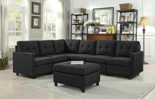Contemporary Sectional Modern Sofa Set Microfiber Reversible