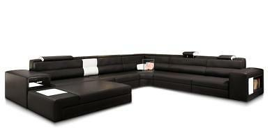 Contemporary Bonded Leather Sectional Sofa Casa Black