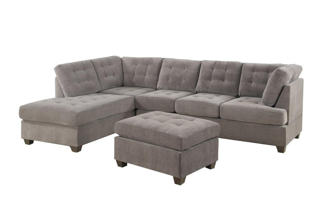Contemporary Grey Sofa Microsuede with