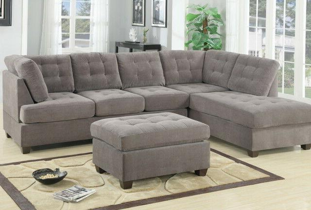 Contemporary 3PC Sofa Microsuede Reversible with Ottoman
