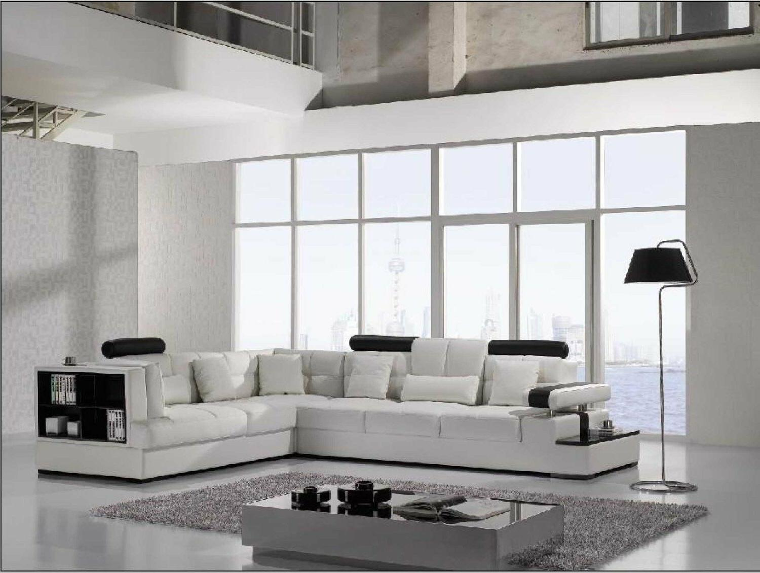 Contemporary Leather Sectional Sofa with and Table.