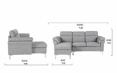 Contemporary Fabric Sectional Sofa, Small Couch, Light