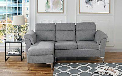 contemporary linen fabric sectional sofa small space