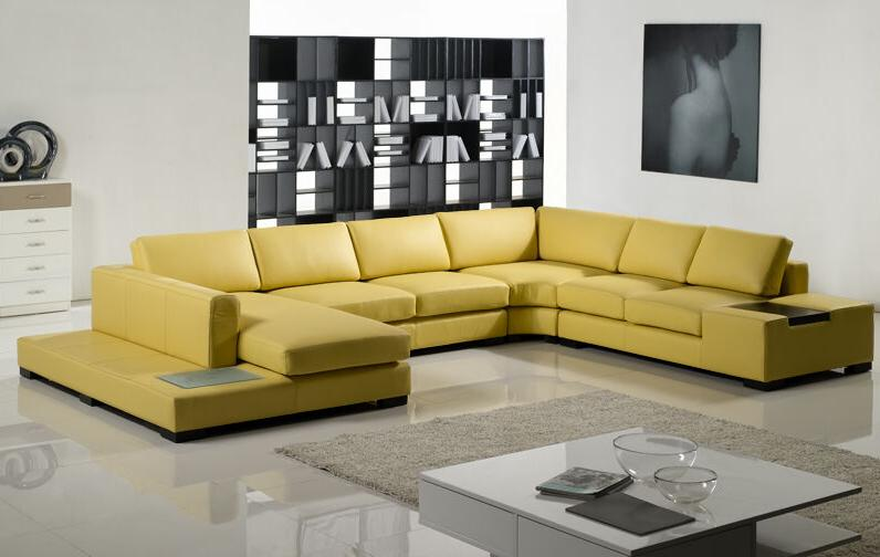 Contemporary Mustard Sectional Sofa in Light &