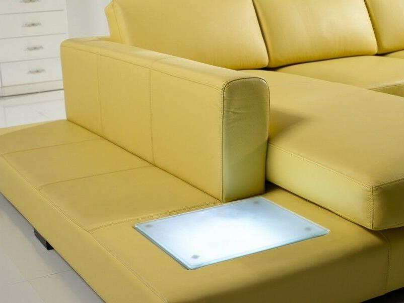 Contemporary Mustard Sectional in & Table