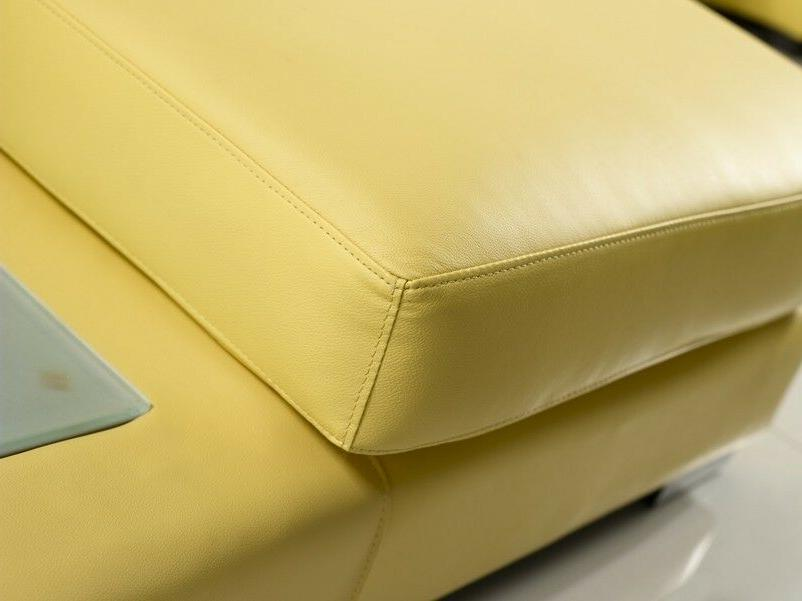 Contemporary Mustard Yellow Sectional Built in Light