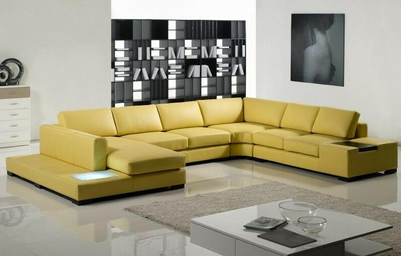 Contemporary Mustard Yellow Sectional Sofa with in &