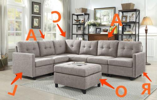 Contemporary Sectional Couch Reversible Chaise with Ottoman