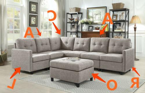 Sectional Sofa Couch Reversible Chaise with Ottoman