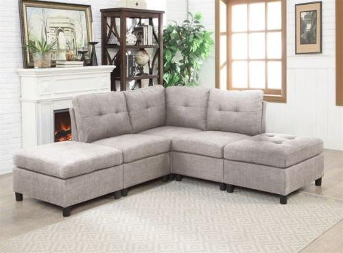 Contemporary Sectional Sofa Set Couch Microsuede Reversible Chaise