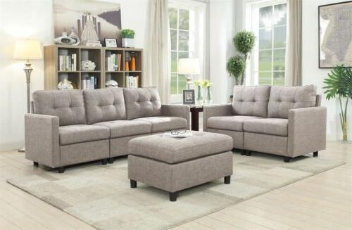Grey Chaise Sectional Sofa Set