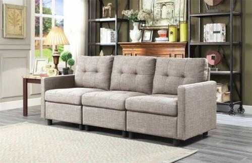 Sectional Sofa Couch Microsuede with Ottoman
