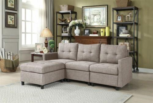 Chaise Set Couch Microsuede