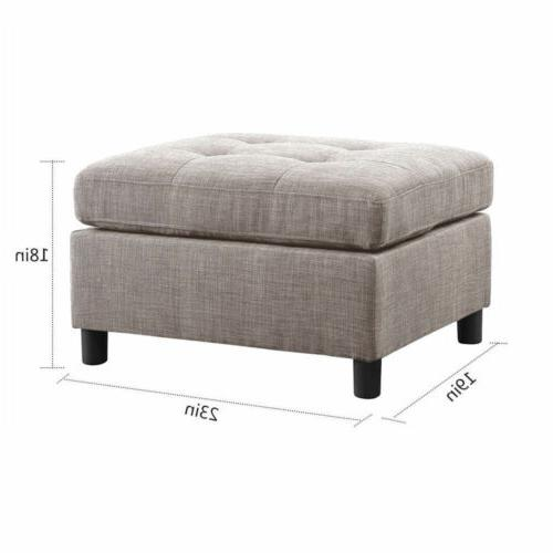 Sectional Set Contemporary Couch Microsuede with Ottoman