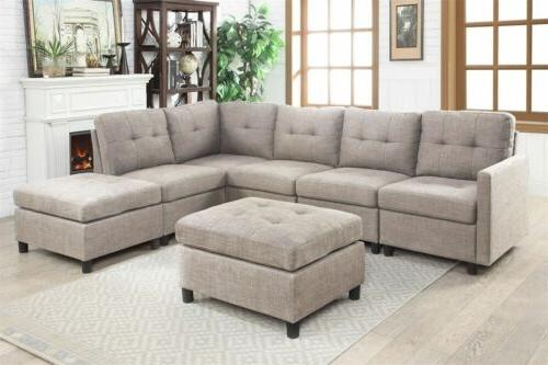 Contemporary Sectional Sofa Set Couch Microsuede Reversible Chaise with  Ottoman