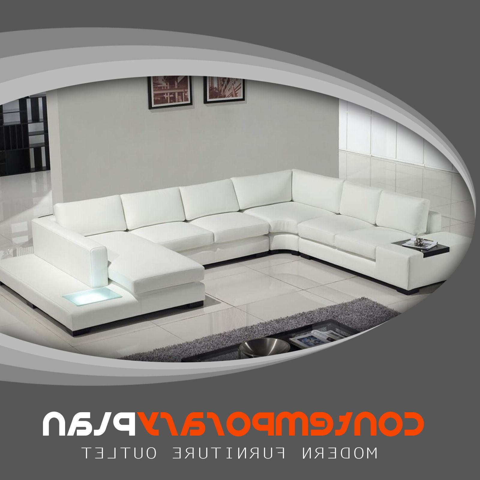 contemporary white leather sectional sofa with built
