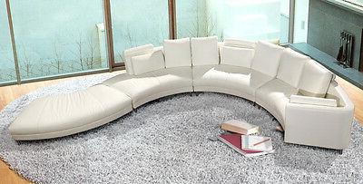 Contemporary White Shaped Curved Leather - Ultra Modern