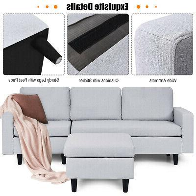 Convertible Couch Fabric L-Shaped Couch Cushion