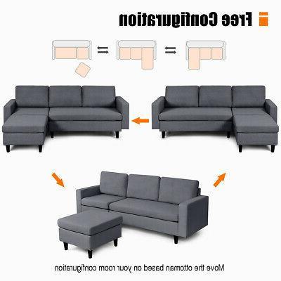 Convertible Couch L-Shaped Cushion Dark Gray
