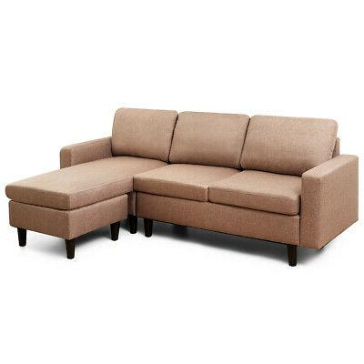 Convertible Sectional Sofa Couch Linen L-Shaped Couch w/Reve
