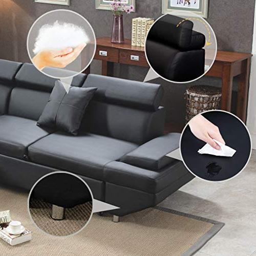 Corner Sofa Piece Leather Sofa Black