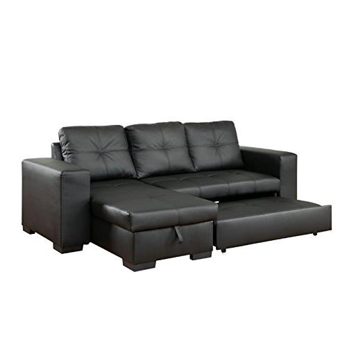 Furniture of Covington Leather Sectional Black