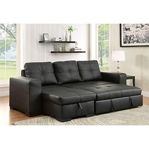 Furniture of Leather Convertible Sectional Black