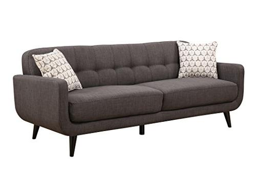 AC Pacific Crystal Upholstered Charcoal Living Room Set Tufted Sofa, Arm and Accent Pillows, Charcoal
