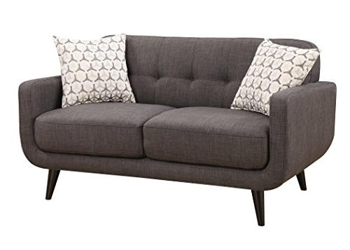 AC Crystal Collection Upholstered Living Tufted and Arm and Accent Pillows, Charcoal