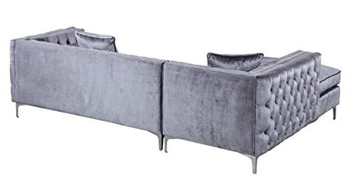 Iconic Da Vinci Tufted Velvet Right Facing Sofa with Silver Tone Metal