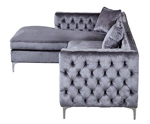 Iconic Home Tufted Velvet Right Facing Metal Y-Legs