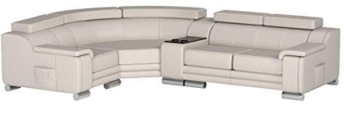 American Furniture Collection Modern Top Leather Sofa Chaise on Headrests, Light