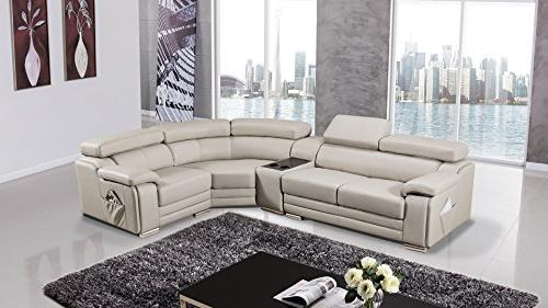 American Furniture Collection Modern Leather Chaise on Right, Headrests, Light