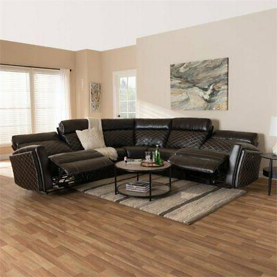 Baxton Leather Reclining Corner Sectional in